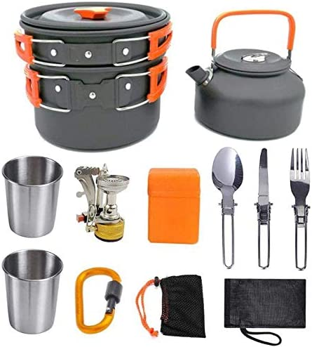 Camping Topfset Außen -Geschirr Camping pan Pot Teekanne, Gabel, Löffel Wasserschale Schneidebrett Ofen Kochset 8bayfa