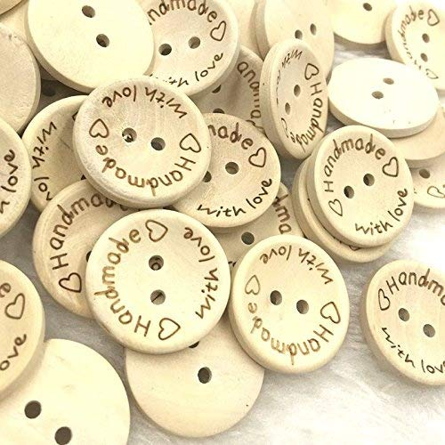 Northbear 100pcs 2 Holes Creative DIY Natural Wooden Handmade Love Heart Wood Sewing Buttons Scrapbook (15mm)