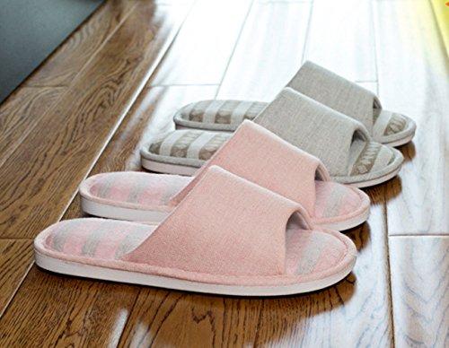 GR Pantoufles en lin, Pantoufles pour hommes et femmes à domicile, Pantoufles en lin non glissantes, Sandales maison Cool (36/37, BEIGE)