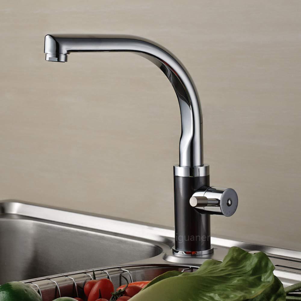 LANGUANGLIN Copper Kitchen Faucet Hot/Cold Universal Dishwashing Sink Faucet Black Nickel Brushed Sink Rotating Faucet