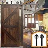 HomeDeco Hardware Rustic 5-16 FT Bypass Door Hardware Sliding Black Steel Big Wheel Roller Flat Track For Double Wooden Doors (10FT Bypass Double Door Kit)