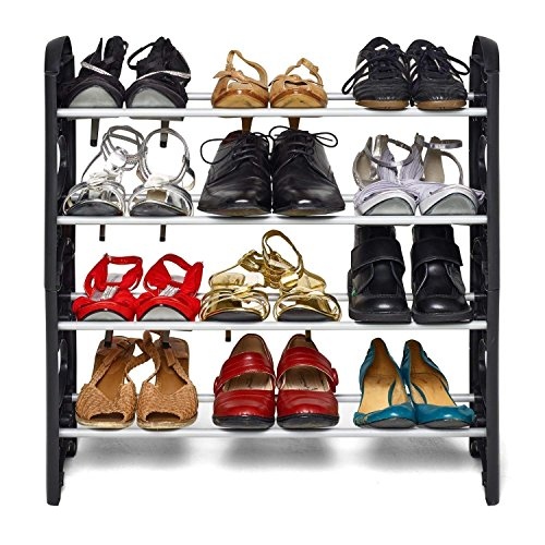 PU PUREUS Plastic Collapsible Shoe Stand  Black, 4 Shelves