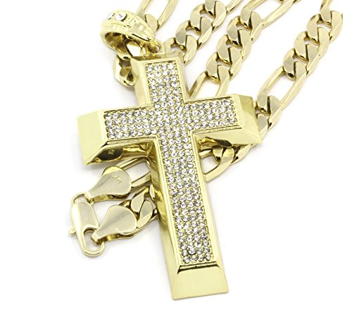 (Men's Gold Tone Iced Out Cross Pendant Hip-Hop with 10mm 30