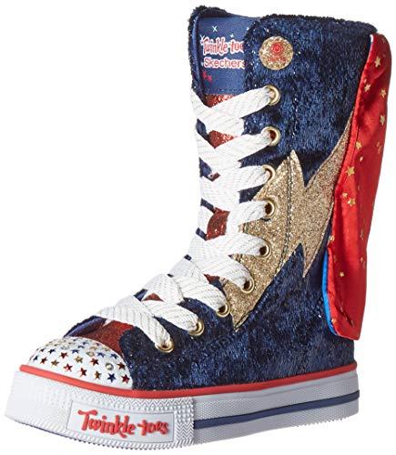 Skechers Kids Girls LITE-Twinkle Hero Sneaker, Navy/Gold, 11 Medium US Little Kid