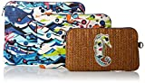 Sakroots Artist Circle Straw 3 Pc Cosmetic Bag, Aqua Water Nation, One Size