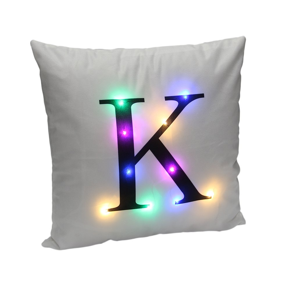 DrCosy LED Pillowcase Christmas Pillow Cover Cushion Covers With LED Lights Colorful Flashing Home Decoration Christmas Festival Gift(Beige Deer)45x45cm Urinfinite