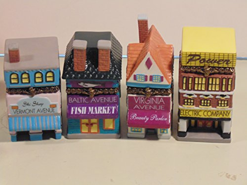 Ski Vermont Shop - 4 Monopoly Porcelain Hinged Box Collection Properties (1999) Baltic Fish Market, Electric Co., Virginia Avenue Beauty Parlor, and Vermont Avenue Ski Shop in Original Boxes with Deeds