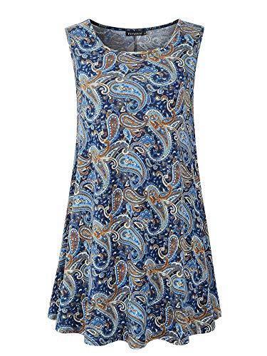 - Veranee Women's Sleeveless Swing Tunic Summer Floral Flare Tank Top (XXX-Large, 6-27)
