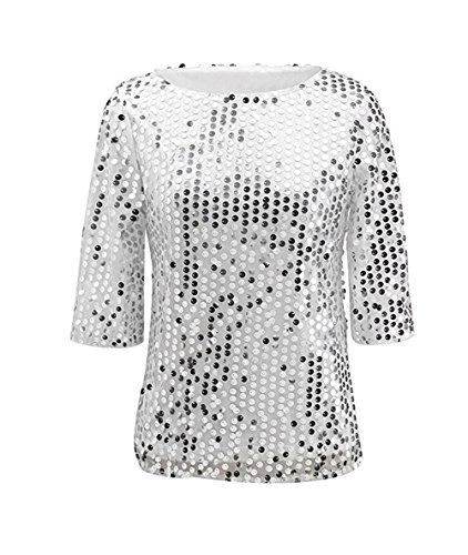 Easyhon Women Sequin Sparkle Glitter Tank Coctail Party Tops Shining T-Shirt Blouses Silvery