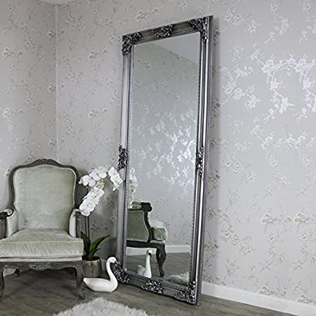 Melody Maison Extra Extra Large Ornate Antique Silver Full Length Wall Floor Mirror 85cm X 210cm Amazon Co Uk Kitchen Home