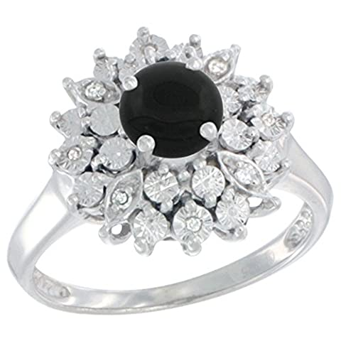 Sterling Silver Natural Black Onyx Ring Oval 6x4, Diamond Accent, size 6 (Oval Cut Black Onyx Ring)