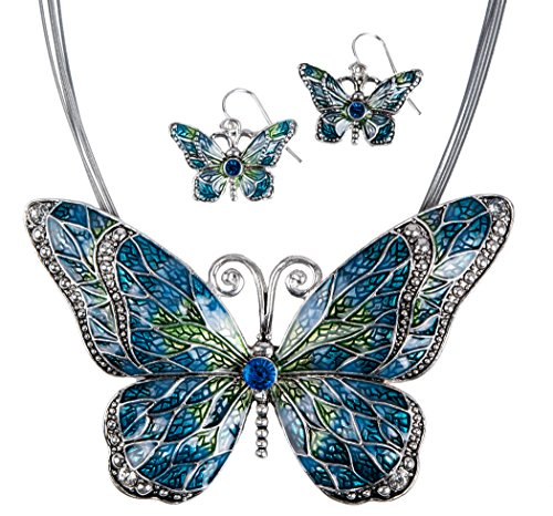 Butterfly-Pendant-Necklace-with-Enamel-Inlay-and-Matching-Earrings-Set-by-Jewelry-Nexus