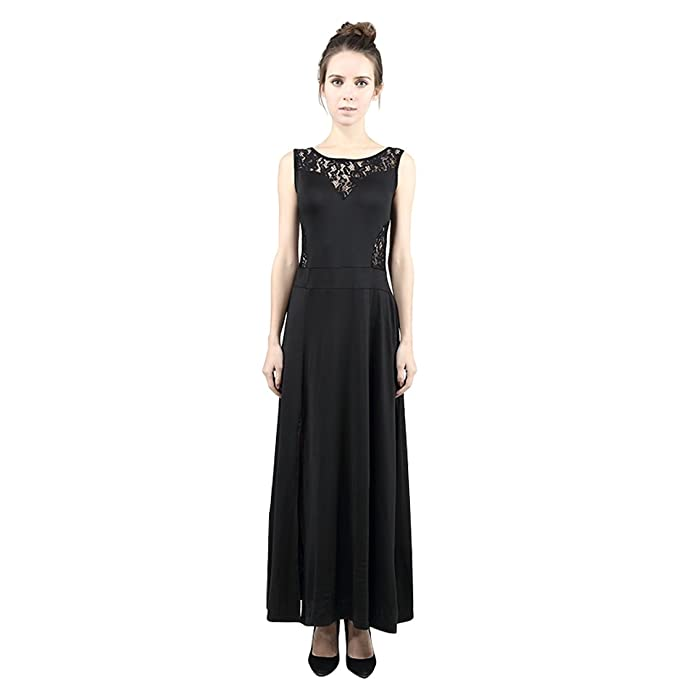 f31d23b63e2dbd YOKIRIN Vestiti Donna Primavera Estate Vintage Pizzo Senza maniche Gonne  Lunghe Eleganti Abito Da Sera Vestito,Nero(S): Amazon.it: Abbigliamento
