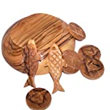 Holy Land Market Fish and Bread multiplication - Two fish and five loaves carved from Olive wood of Bethlehem (5 inch plate)
