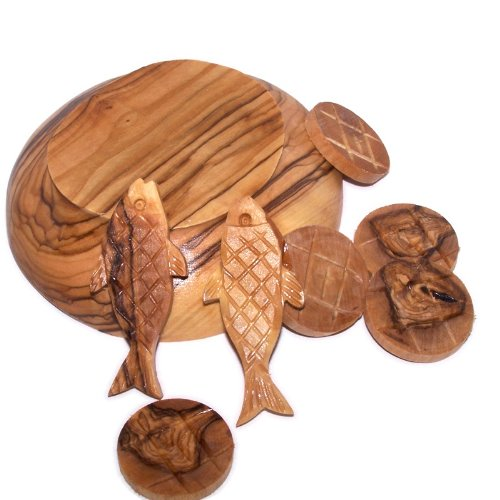 Holy Land Market Fish and Bread multiplication - Two fish and five loaves carved from Olive wood of Bethlehem (5 inch plate) by Holy Land Market (Image #3)