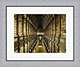 Interior of the Library, Trinity College, Dublin Framed Art Print Wall Picture, Flat Silver Frame, 24 x 20 inches