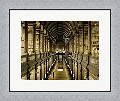 Interior of the Library, Trinity College, Dublin Framed Art Print Wall Picture, Flat Silver Frame, 24 x 20 inches by Great Art Now (Image #4)