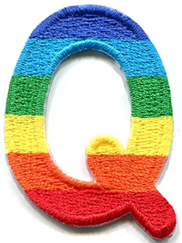 1.25 x 1.70 inches. Letter Q gay lesbian LGBT rainbow English alphabet embroidered applique iron-on patch - Canada To How Usps To Ship