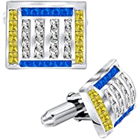 Men's Sterling Silver .925 Cufflinks with Canary Yellow, Azure Blue and White Princess Cubic Zirconia Stones, Platinum Plated. 16.8 mm x 14 mm. By Sterling Manufacturers