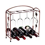 Hangnuo Elegant Countertop Stainless Steel Tabletop Wine Glass Drying Folding Rack Stand Hold 8 Wine Glass and 4 Bottles of Wine
