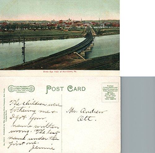 Postcard Birdseye View (NORRISTOWN PA BIRDS EYE VIEW ANTIQUE POSTCARD)