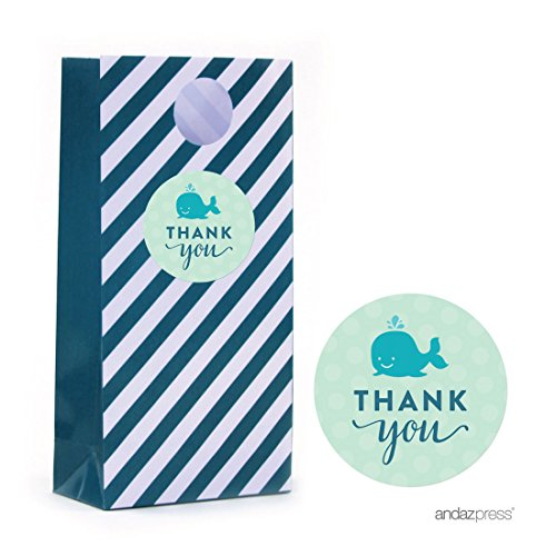 Andaz Press Boy Whale Nautical Baby Shower Collection, Treat Bag DIY Party Favors Kit, Thank You!, 24-Pack -