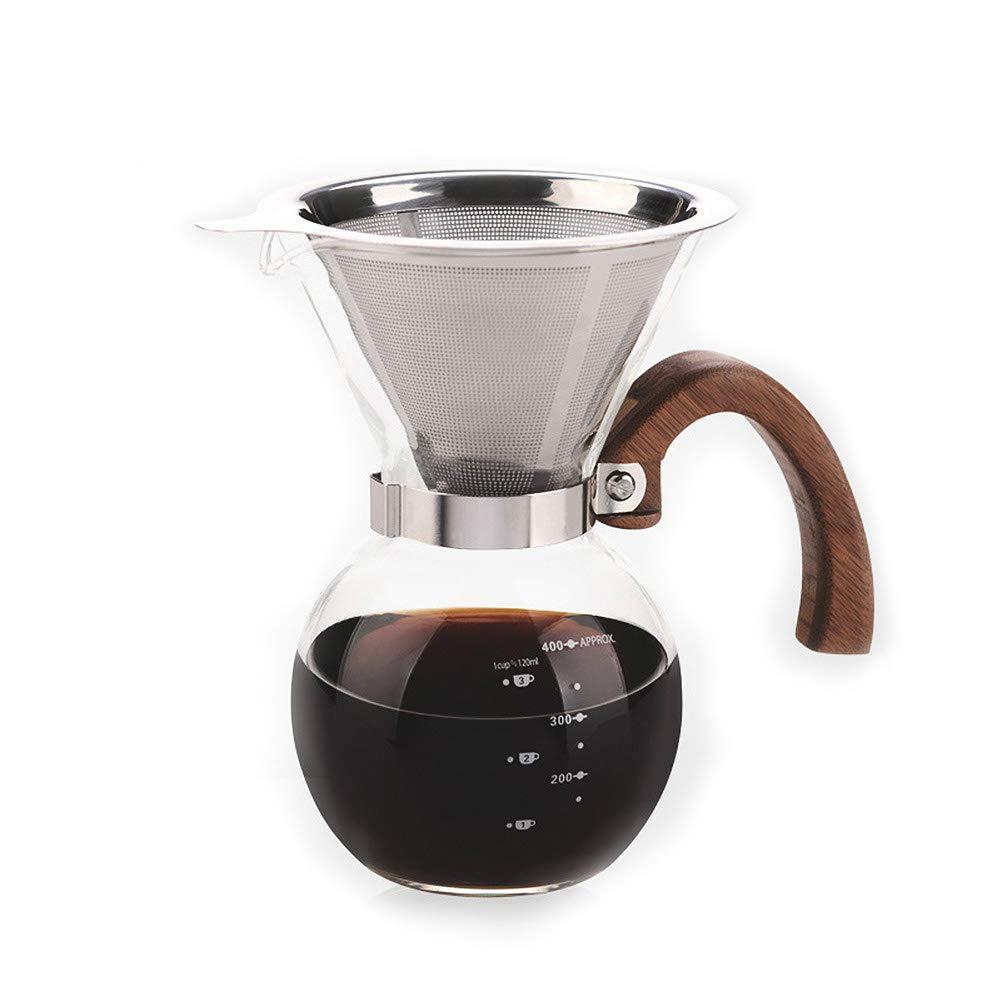 GYCC Versare sopra caffettiera, caraffa per caffè in Vetro borosilicato con caraffa Riutilizzabile in Acciaio Inox 400 ml offerta