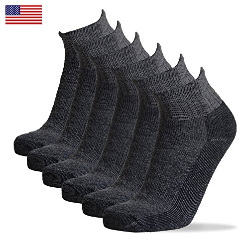 - 6 pairs Merino Wool Lightweight Socks Made in USA (Quarter Ankle [M-L], Charcoal Grey)