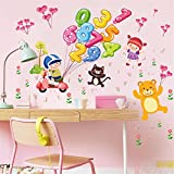 IndButy Wall Stickers Cartoon Children Animal Numbers Wall Stickers Baby Enlightenment Early Learning Preschool Learning Stickers 6090CM