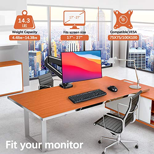 Single Monitor Desk Mount Stand - PUTORSEN Articulating Gas Spring Monitor Arm, Adjustable VESA Mount Desk Stand with Clamp and Grommet Base - Fits 17 to 27 Inch Computer Screens, Hold up to 14.3lbs