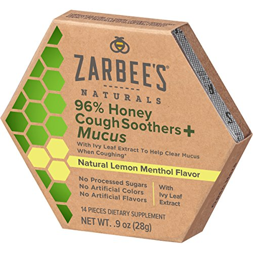 Zarbee's Naturals 96% Honey Cough Soothers + Mucus with Ivy Leaf Extract, Natural Lemon Menthol Flavor, 14 Count