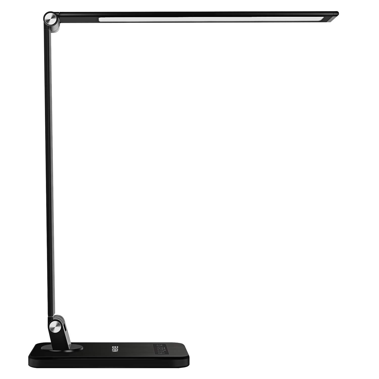 MEIKEE LED Desk Lamp,Aluminum Dimmable Table Lamp,5 Lighting Models with 8 Brightness Levels,Touch Control and Memory Function,30min/60min Auto Timer,5V/1A USB Charging Port,12W,Black