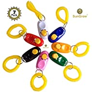 SunGrow 7 Dog Clickers with Wrist Bands - Colorful & Practical Set of Simple, Convenient & Effective Training Tools for Puppy or Cat - Humanized Scientific Professional Design - Perfect Size & Sound