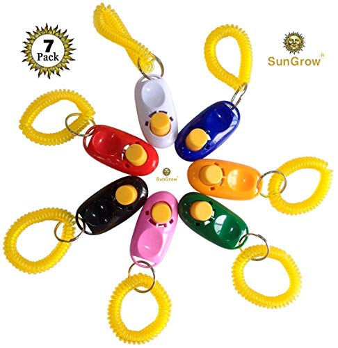 SunGrow 7 Dog Clickers with wrist bands - Colorful & Practical Set of Simple, Convenient & Effective Training Tools for Puppy or Cat - Humanized Scientific Professional Design - Perfect Size & Sound by SunGrow