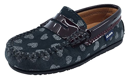 Atlanta Mocassin Girl's Suede and Patent Heart Print Penny Loafers (Grey Suede/Burgundy Patent, 29 M EU/12 M US Little (Toddler Burgundy Patent Footwear)