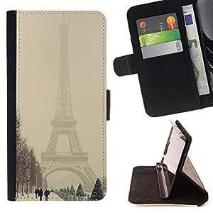 Jordan Colourful Shop - winter Eifel tower pastel city romantic For Apple Iphone 4 / 4S - Leather Case Absorci???¡¯???€????€???????&b