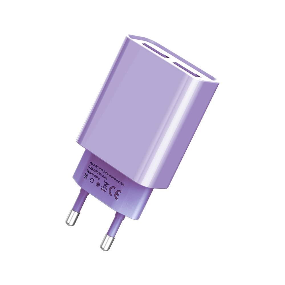 BONAI Cargador de Pared USB, Adaptador Universal Portátil Enchufes 5V 2A USB Cargador de móvil de Travel de Carga Rápida
