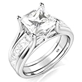 Sz 10 Sterling Silver 2Pcs 925 CZ Cubic Zirconia Engagement Wedding Band Ring Insert Set