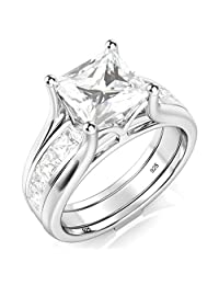 Sterling Silver 2Pcs 925 CZ Cubic Zirconia Engagement Wedding Band Ring Insert Set