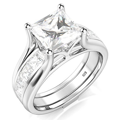 Sz 9 Sterling Silver 2Pcs 925 CZ Cubic Zirconia Engagement Wedding Band Ring Insert ()