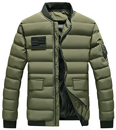 Padded Collar MY Jacket Men's Foldaway moxishop Down Packable Winter Coat Green Puffer Lightweight Warm Stand wUqE0O