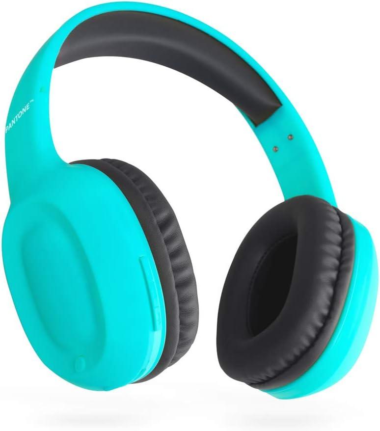 Balvi Cascos Bluetooth Pantone Color Turquesa Inalámbrico (hasta 10m) o con Cable (Incluido) Función Entrada de Llamadas, Manos Libres y Controles Plástico ABS