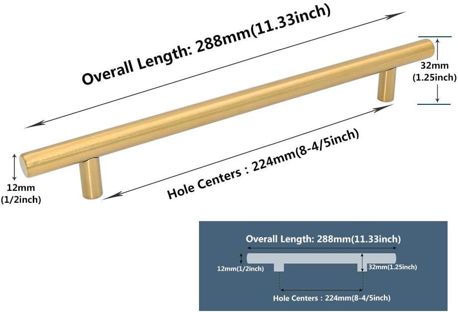 Hole Centers:96mm . Probrico lat/ón dorado, mango de acero inoxidable, incluye tornillos 5in Paquete de 5 Tiradores para puerta de cocina acero inoxidable oro