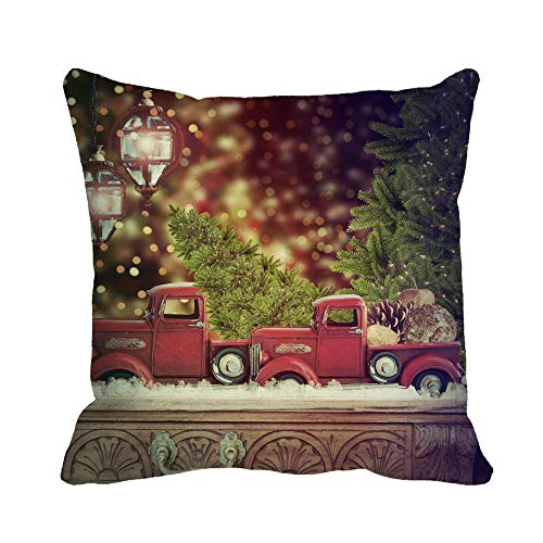 Awowee Throw Pillow Cover Green Pickup Old Antique Toy Truck Carrying Christmas Red Apple 16x16 Inches Pillowcase Home Decorative Square Pillow Case Cushion Cover ()