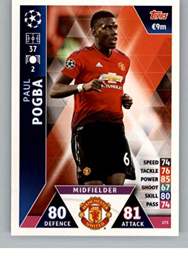2018-19 Topps UEFA Champions League Match Attax #173 Paul Pogba Manchester United FC Soccer Trading Card