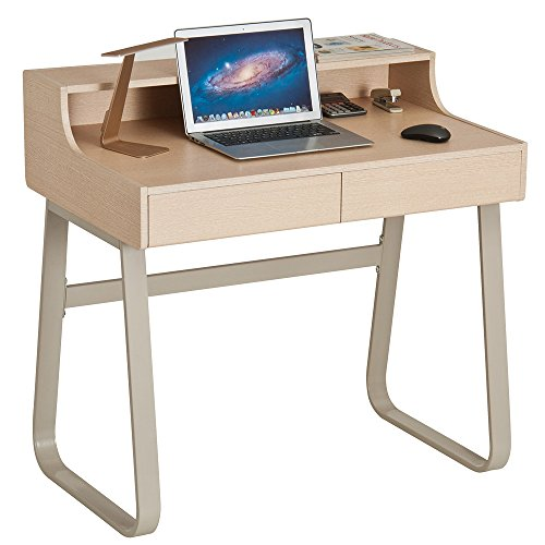 ProHT Small Office Computer Writing Desk with Two Drawers. Compact Writing/PC/Laptop/Study/Drawing/Table/Workstation Small Computer Table, CARB Certified.(White Oak & Ivory 05020A) by ProHT
