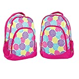 Flower Petal Burst Reinforced and Water Resistant Padded Laptop School Backpack- 2 Pack