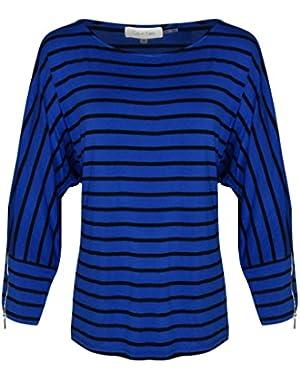 Calvin Klein Women's Striped Zipper Blouse - Regatta/Black - M