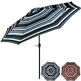 Sunnydaze 9 Foot Outdoor Patio Umbrella with Push Button Tilt & Crank, Aluminum, Catalina Beach Stripe Review