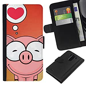 KingStore / Leather Etui en cuir / LG G3 / Amor lindo del cerdo